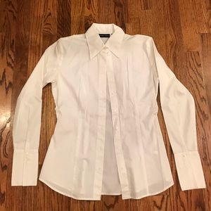 New York & Co Stretch Oxford Blouse Size XS 0/2